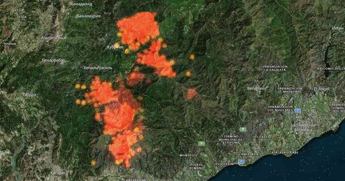Пожар Sierra Bermeja: 7500 гектаров, 85 километров периметра, 6 эвакуированных населенных пунктов
